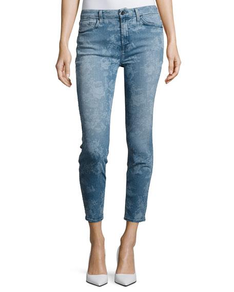 JEN7 Lasered Rose-Print Skinny Ankle Jeans
