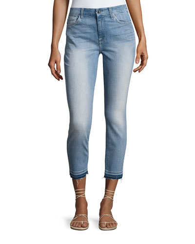 Skinny Ankle Jeans w/ Released Hem, Medium Blue