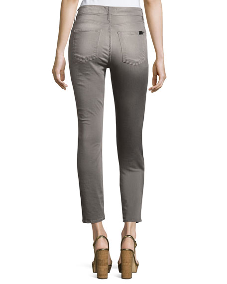 Sateen Skinny Ankle Jeans, Gray