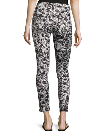 Etched Floral-Print Skinny Ankle Jeans
