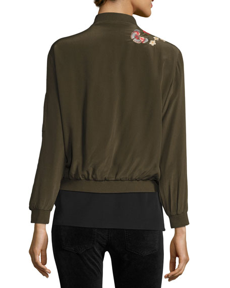 Lucy Crepe de Chine Bomber Jacket