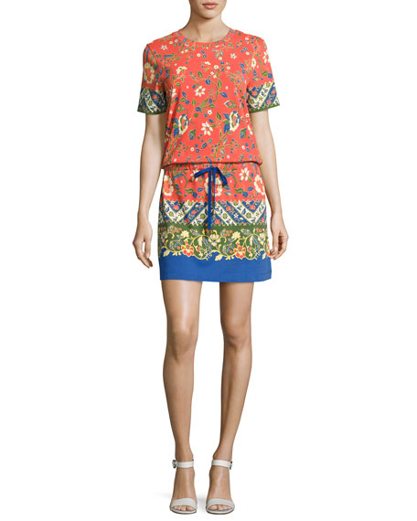 Tory Burch Jessie Drawstring-Waist T-Shirt Dress, Orange Multi