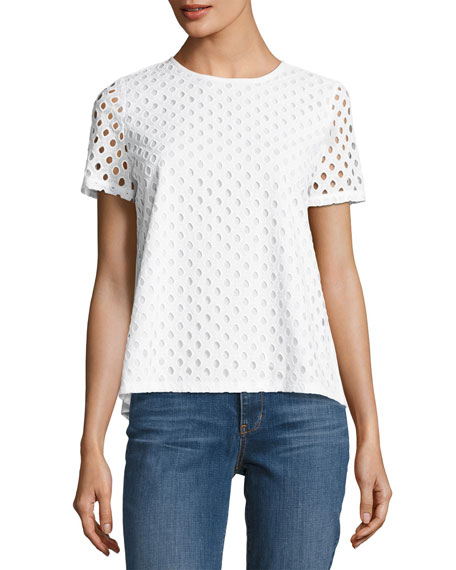 Tory Burch Hermosa Cotton Eyelet T-Shirt, White