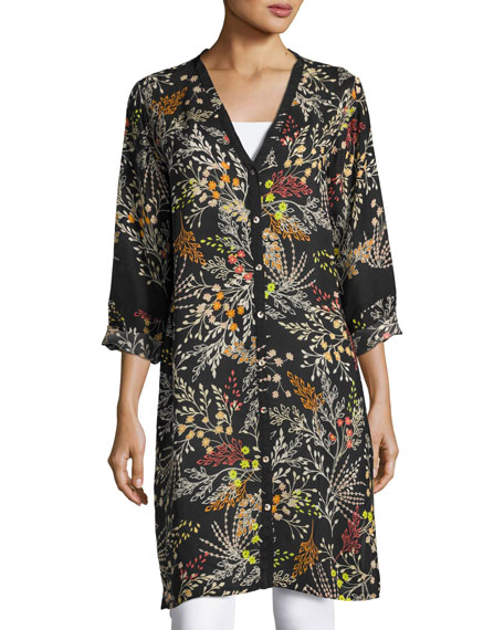 Johnny Was Busch Button-Front Long Cardigan, Black Pattern,