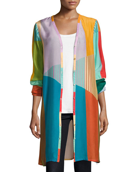 Johnny Was Busch Button-Front Colorblocked Cardigan, Multi
