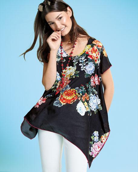 Ziara Printed Handkerchief-Hem Tunic, Black