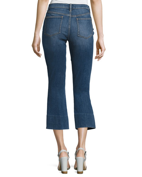 Alana Cropped Boot-Cut Jeans, Medium Blue
