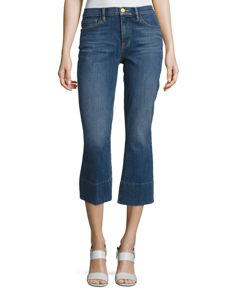 Tory Burch Alana Cropped Boot-Cut Jeans, Medium Blue