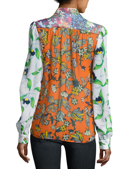 Kia Tie-Neck Graphic-Print Silk Blouse, Orange Multi