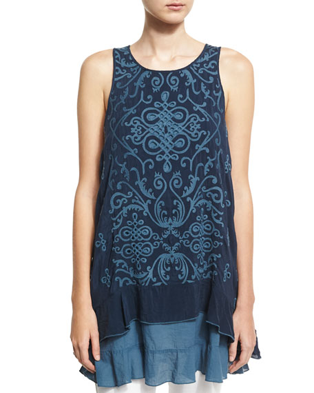 Johnny Was Wynifred Twofer Layered Tunic/Tank, Deep Dawn,