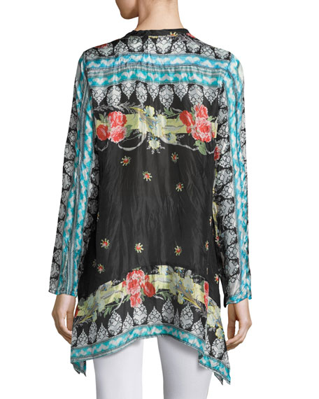 Fiesta V-Neck Long-Sleeve Printed Tunic, Plus Size