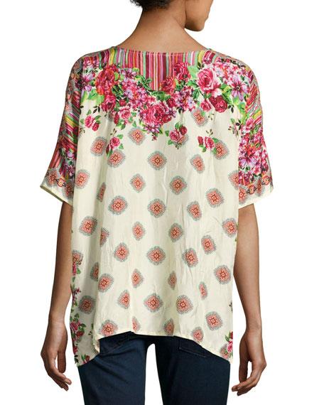 Rose Lace Silk Top, Plus Size