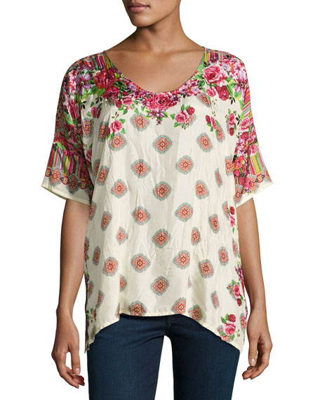 Johnny Was Rose Lace Silk Top, Plus Size
