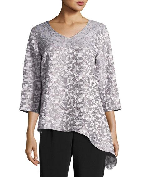 Caroline Rose Mosaic Moonbeam Asymmetric Tunic, Plus Size