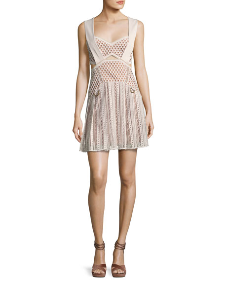 Avery Lace A-Line Mini Dress, Cream
