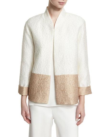 Caroline Rose Paneled Cloque Boxy Jacket, Plus Size