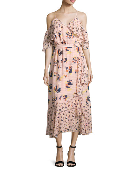 Amylia Textured Silk Abstract Floral Midi Dress, Pink
