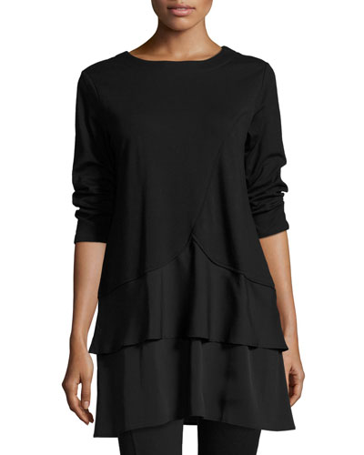 Interlock Tunic w/ Tiered Hem, Black, Plus Size