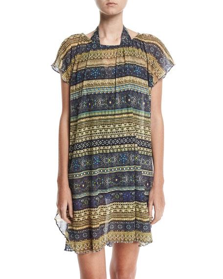 Fuzzi Tulle Poncho Coverup Tunic/Dress, Sapphire