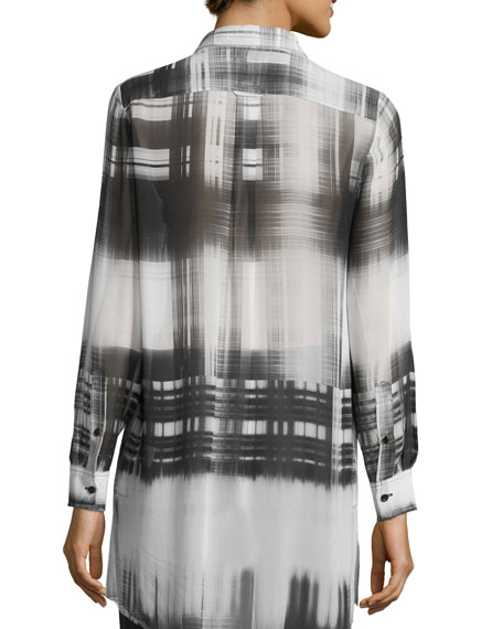 Go Sheer Button-Front Plaid Tunic