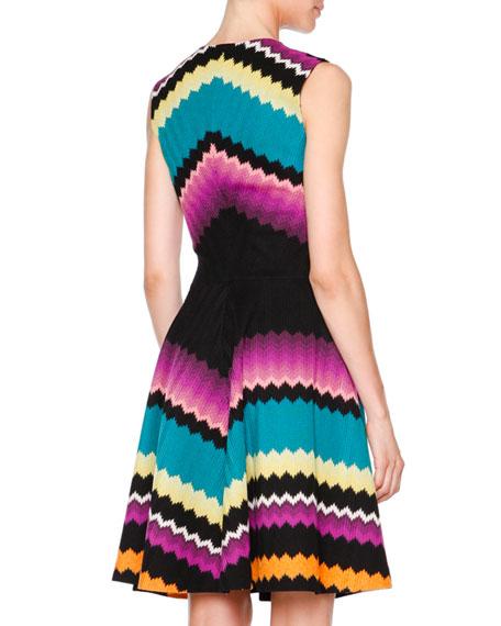 Sleeveless Fit-&-Flare Zigzag Dress