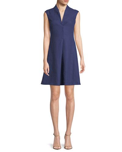 Hollie Cap-Sleeve Linen Dress