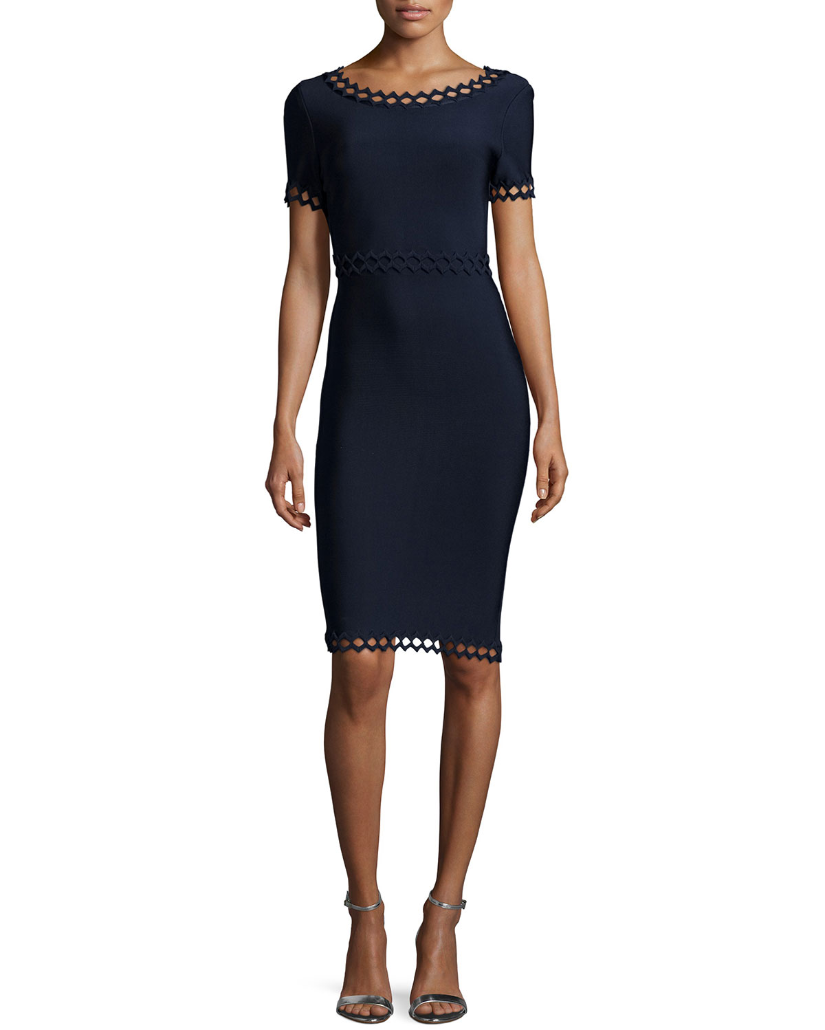 bf7fbb3b4fdef Herve Leger Short-Sleeve Cutout Ottoman Dress