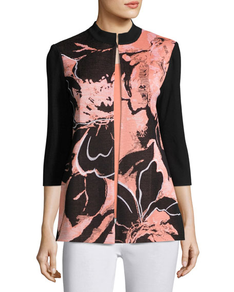 3/4-Sleeve Textured Abstract-Print Long Jacket, Plus Size