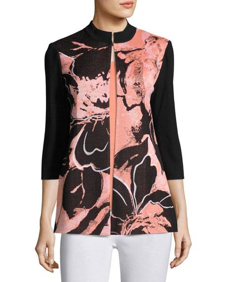 3/4-Sleeve Textured Abstract-Print Long Jacket