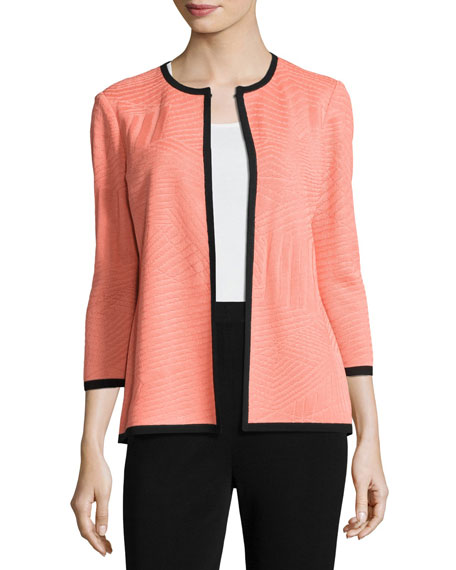 Misook 3/4-Sleeve Textured Open Jacket, Tart/Black