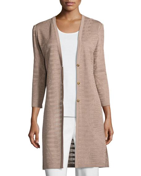 3/4-Sleeve Long Textured Jacket, Macchiato