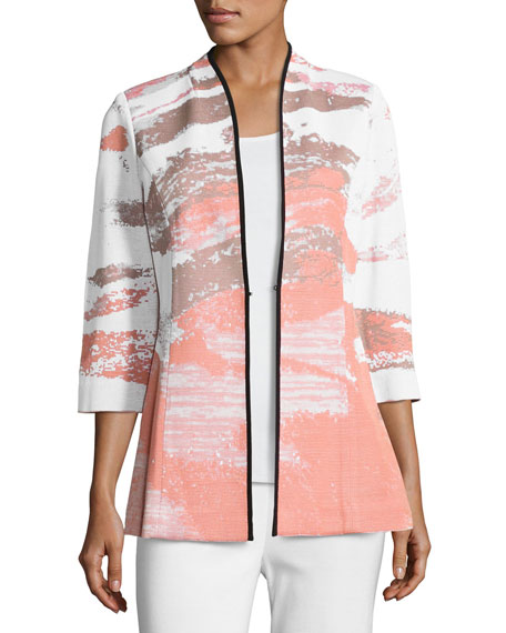Graphic-Print 3/4-Sleeve Jacket, Plus Size