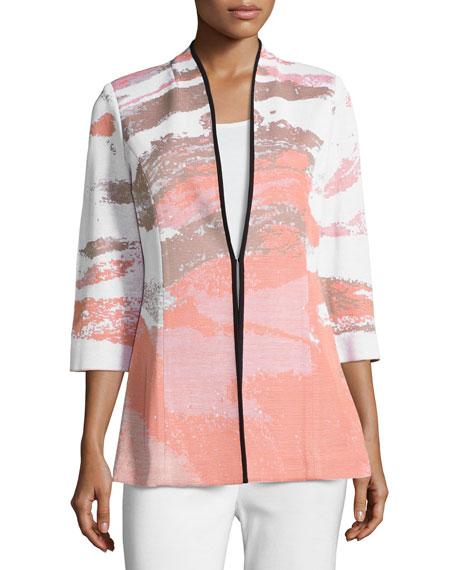 Misook Graphic-Print 3/4-Sleeve Jacket