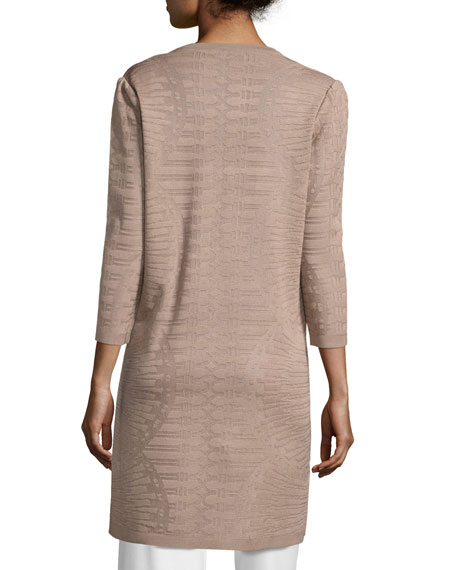 3/4-Sleeve Long Textured Jacket, Macchiato, Plus Size