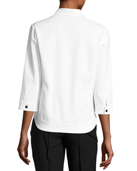 3/4-Sleeve Techno Snap-Front Jacket, White/Black, Plus Size