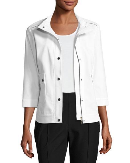 Misook 3/4-Sleeve Techno Snap-Front Jacket, White/Black, Plus