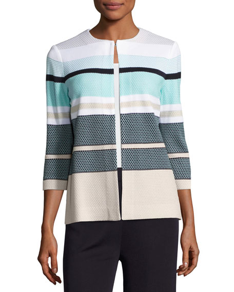 3/4-Sleeve Striped Textured Open Jacket, Multi