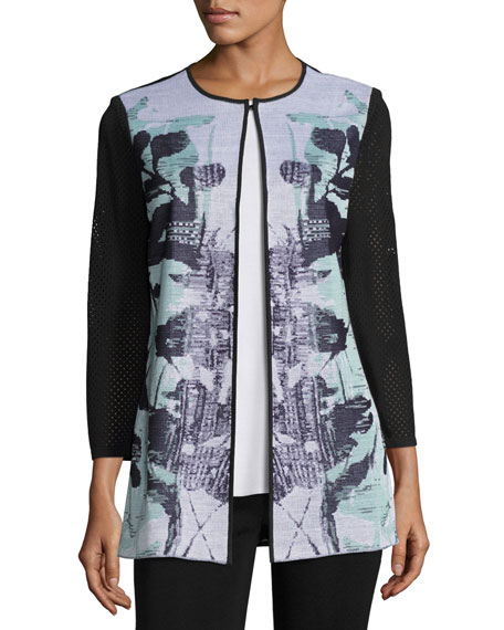 Misook 3/4-Sleeve Textured Floral-Print Long Jacket, White/Navy/Sea