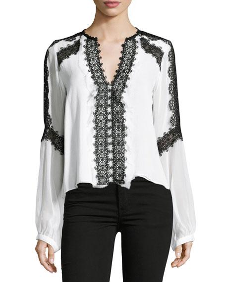Long-Sleeve Silk Lace-Trim Blouse, White/Black