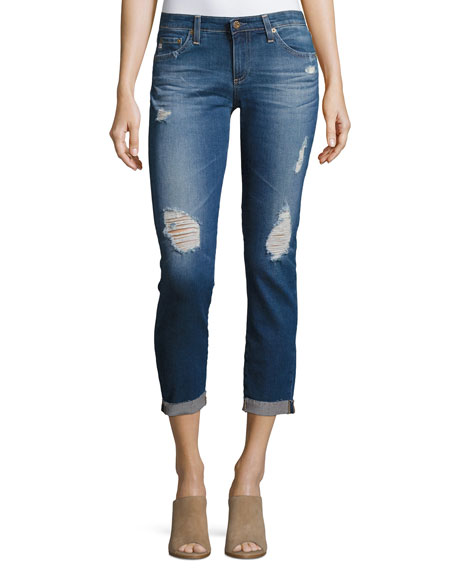 AG Adriano Goldschmied Stilt Roll-Up Cropped Distressed Jeans,