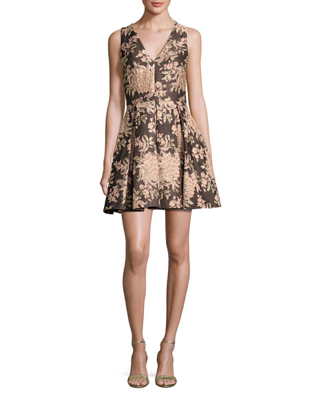 Alice + Olivia Willow Sleeveless Pleated Floral Jacquard