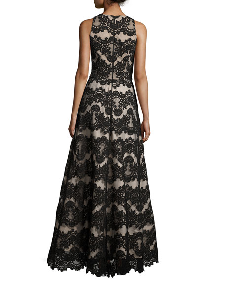 Richie Sleeveless Lace Romper Gown, Black/Nude