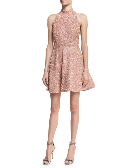 Alice + Olivia Hollie Sequined Fit-and-Flare Racerback Dress,