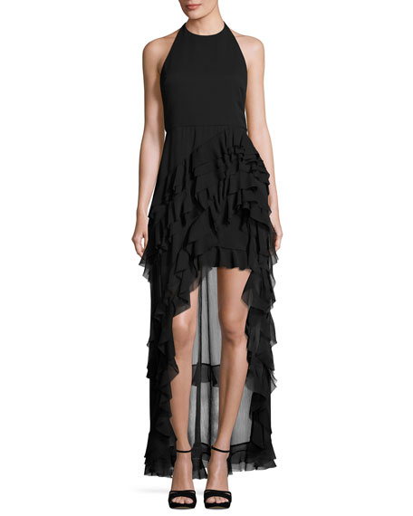 Alice + Olivia Carma Tiered High-Low Halter Gown,