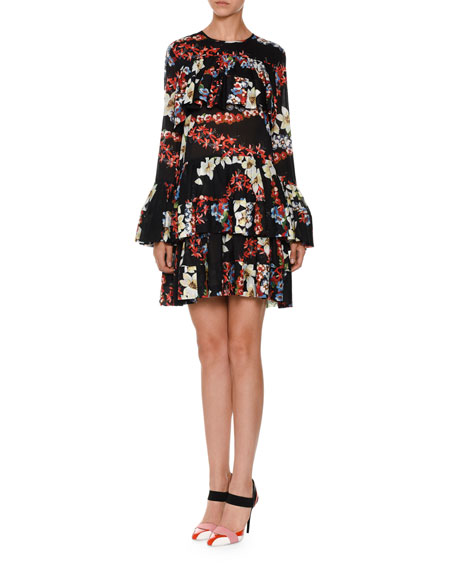 Long-Sleeve Tiered Floral Silk Mini Dress, Black/Multicolor
