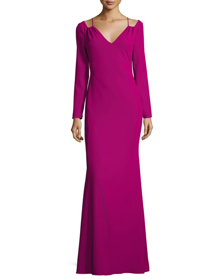 Long-Sleeve Stretch Crepe Gown, Pink
