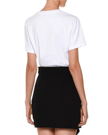 Short-Sleeve Embellished Logo Tee, White