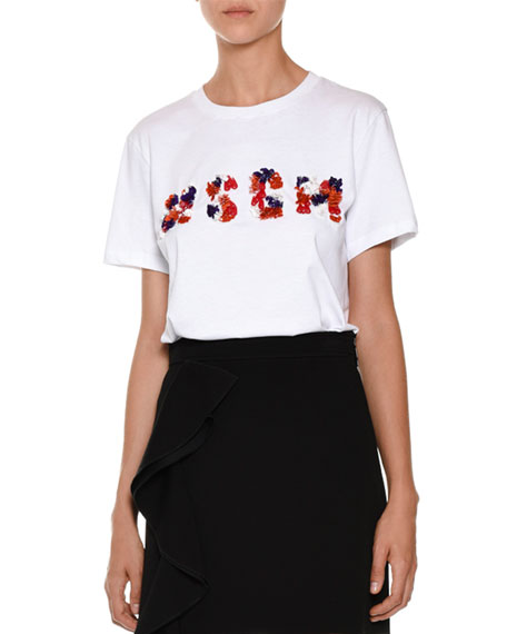 Short-Sleeve Embellished Logo Tee, White