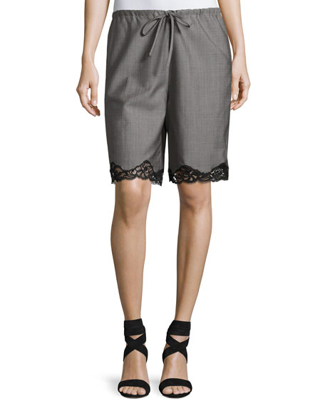 Alexander Wang Tailored Board Shorts with Lace Hem,