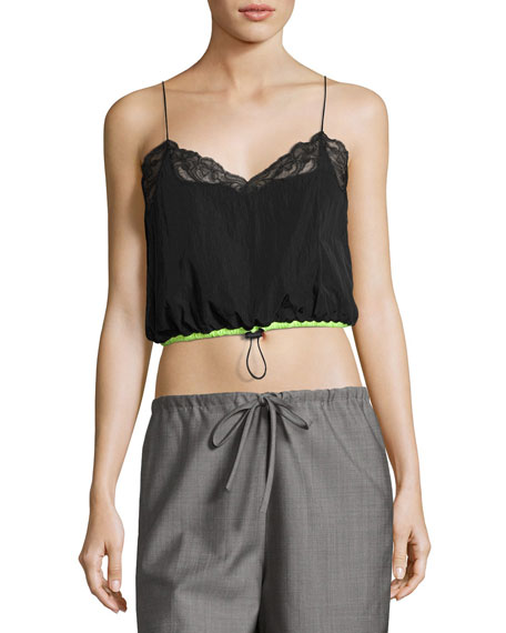 Alexander Wang Lace-Trim Cropped Camisole with Drawstring Waist,
